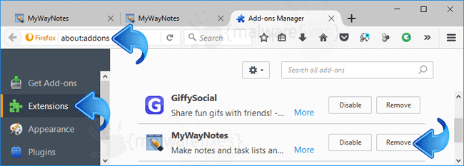 MyWayNotes Firefox Extension