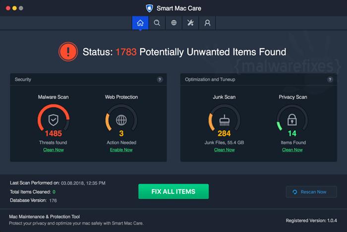 Screenshot of Smart Mac Care scanner