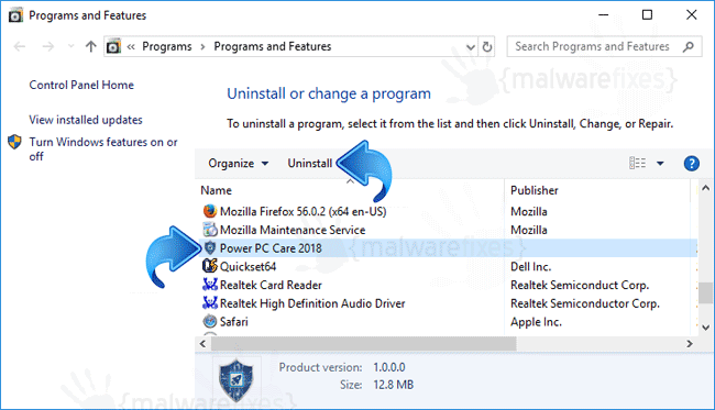 Add-Remove Power PC Care 2018