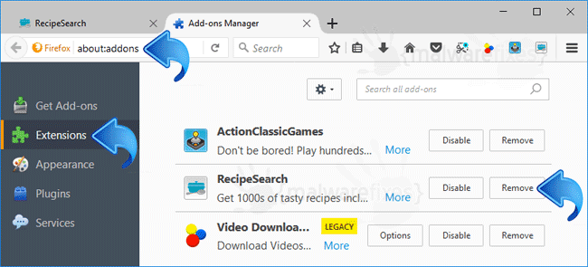 RecipeSearch Firefox Extension