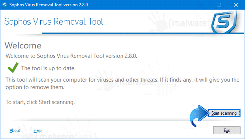 Screenshot of Sophos Virus Scan
