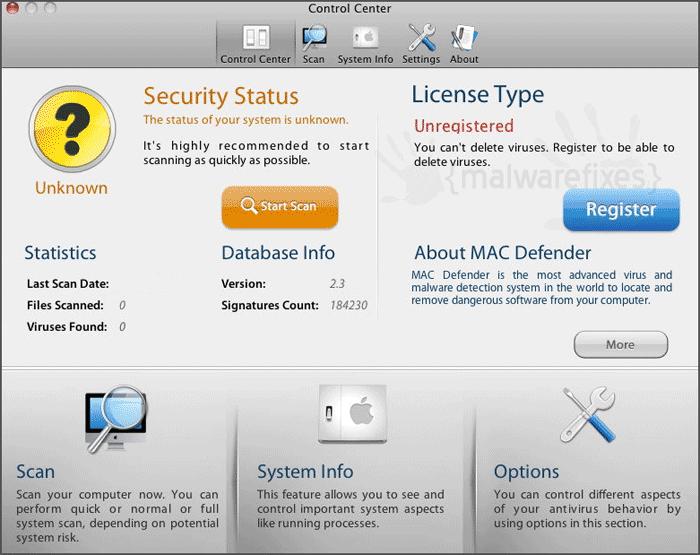 Image of MAC Defender scanner