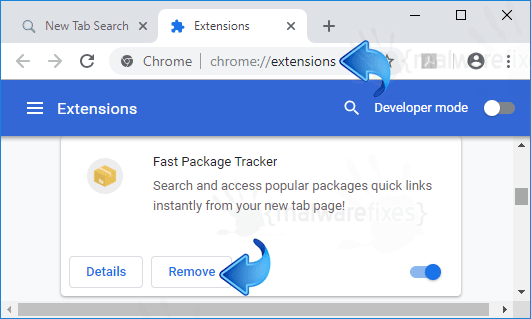 Search.hfastpackagetracker.net Chrome Extension