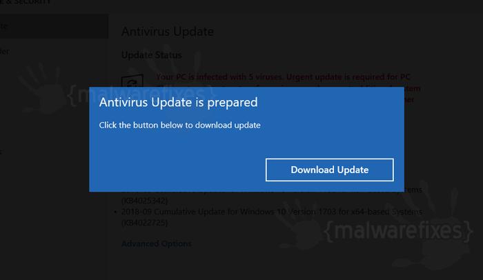 Image of Fake Antivirus Update pop-up