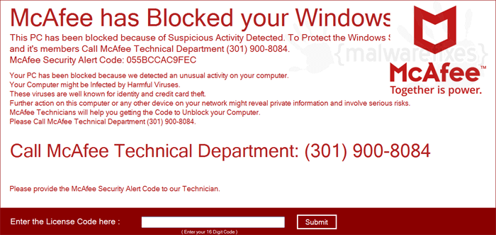 """McAfee has Blocked Your Windows"""