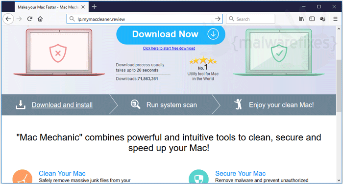 Screenshot image of Lp.mymaccleaner.review website