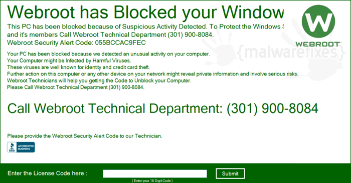 """Webroot has Blocked Your Windows"""