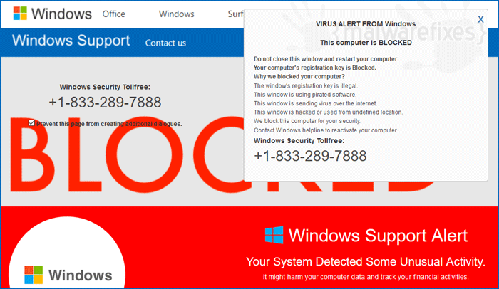 Virus Alert from Windows
