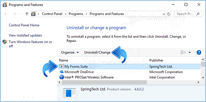 Remove My Forms Suite from Windows