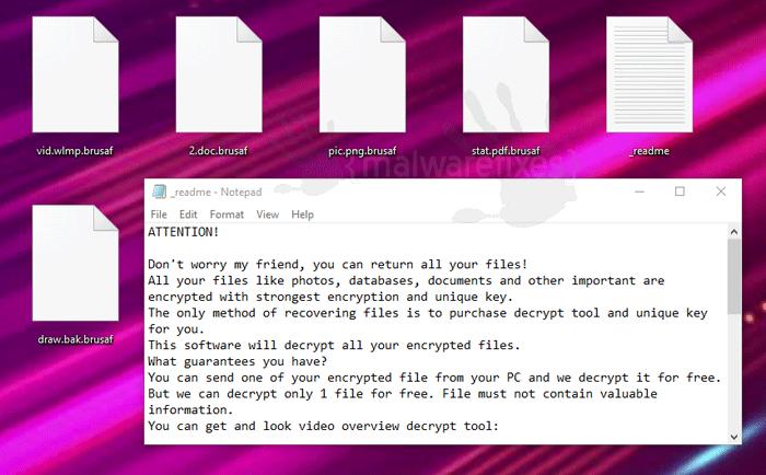 Brusaf encrypted files image