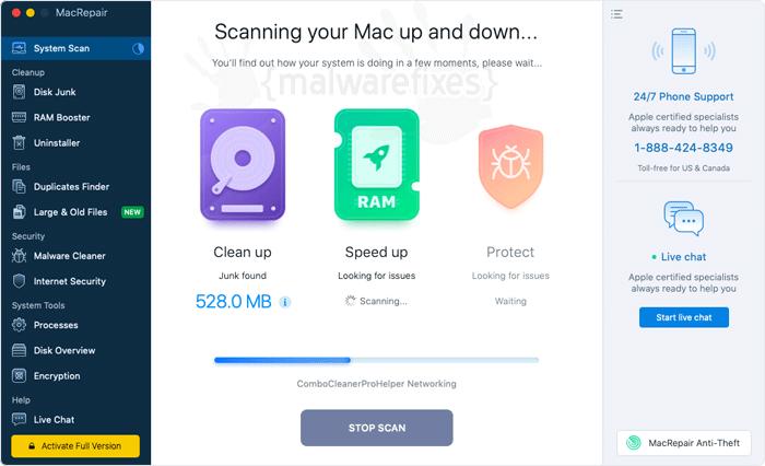 Screenshot of MacRepair rogue program