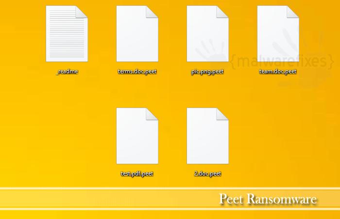 Screenshot of Peet infected files
