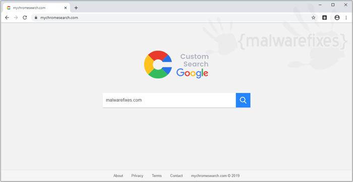 Screenshot of Mychromesearch.com website