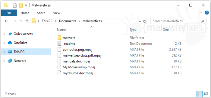 Screenshot image of Mpaj infected files
