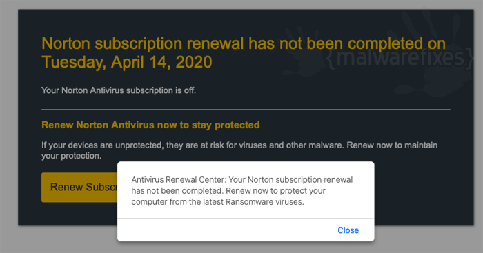 Image of Norton Subscription fake pop-up