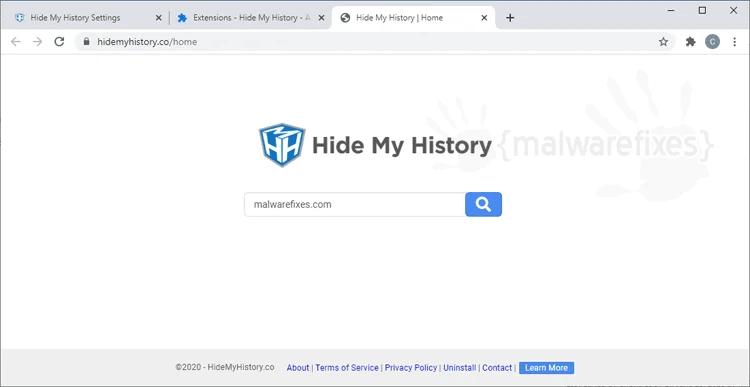 Image of Hide My History Website