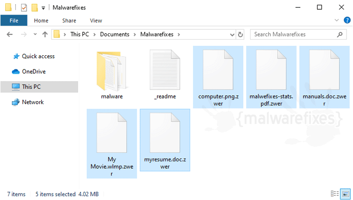 Image of Zwer encrypted files