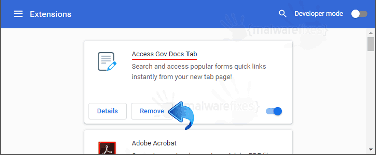 Access Gov Docs Tab Chrome Extension