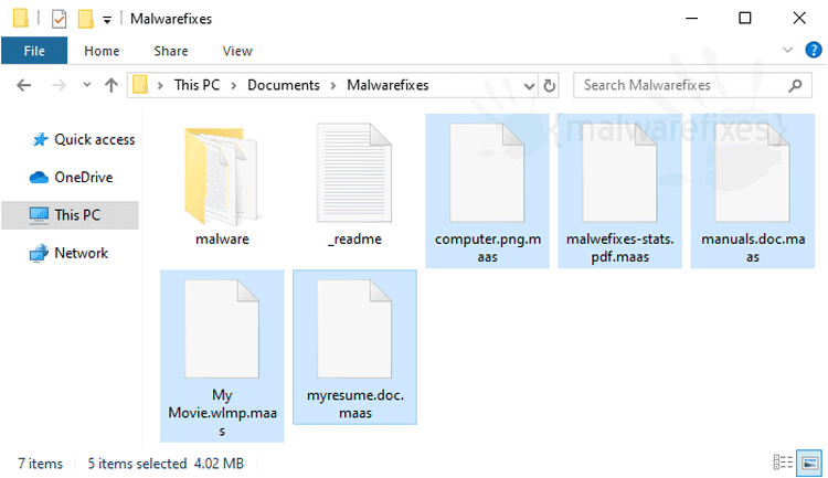 Image of Maas infected files