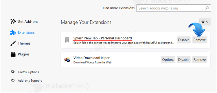 Splash New Tab Firefox Extension