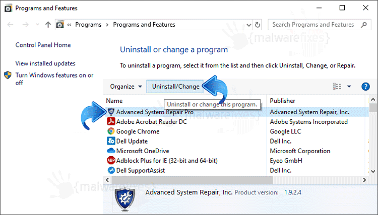 Add Remove Advanced System Repair Pro