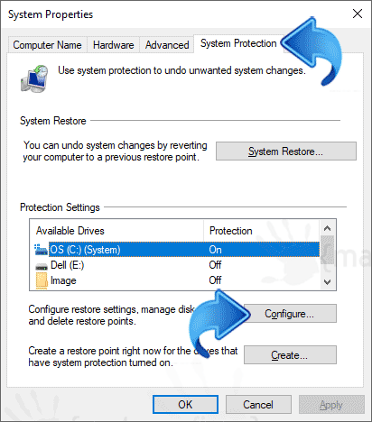 Image of configuring System Restore