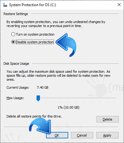 Image to disable System Restore