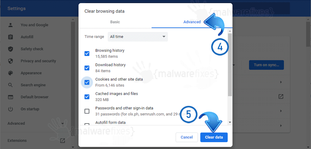 Image of Clearing Data on Google Chrome