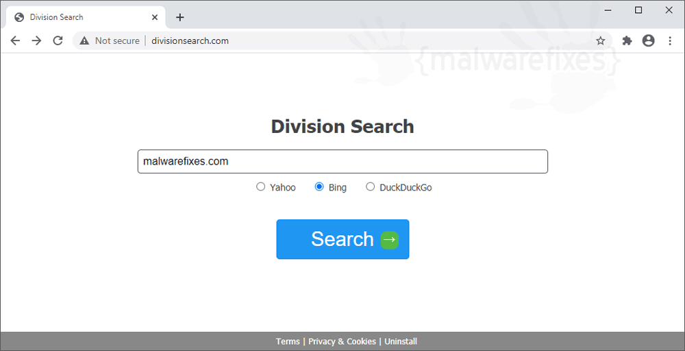 Screenshot of Division Search website