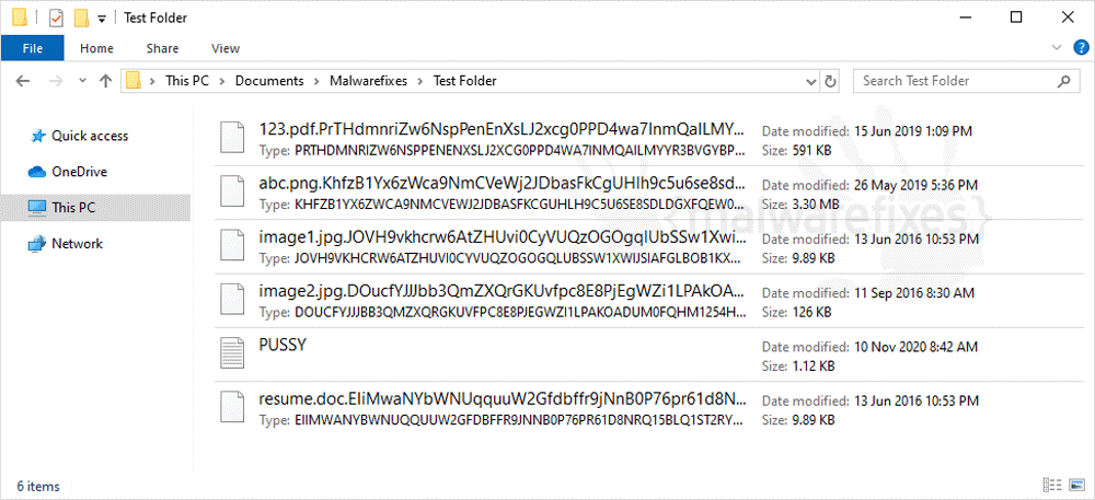 Image of Doris encrypted files
