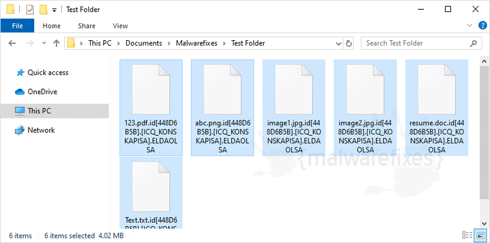 ELDAOLSA encrypted files screenshot