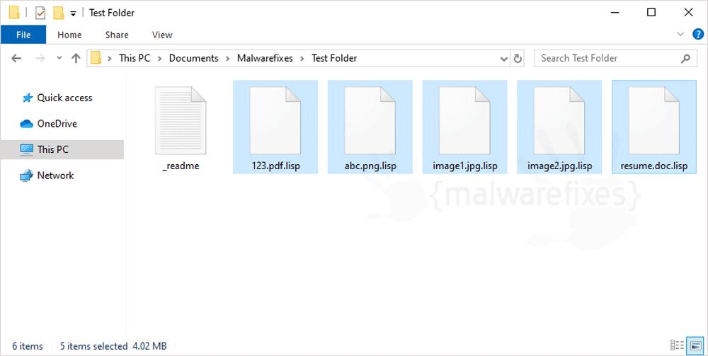 Screenshot of Lisp encrypted files