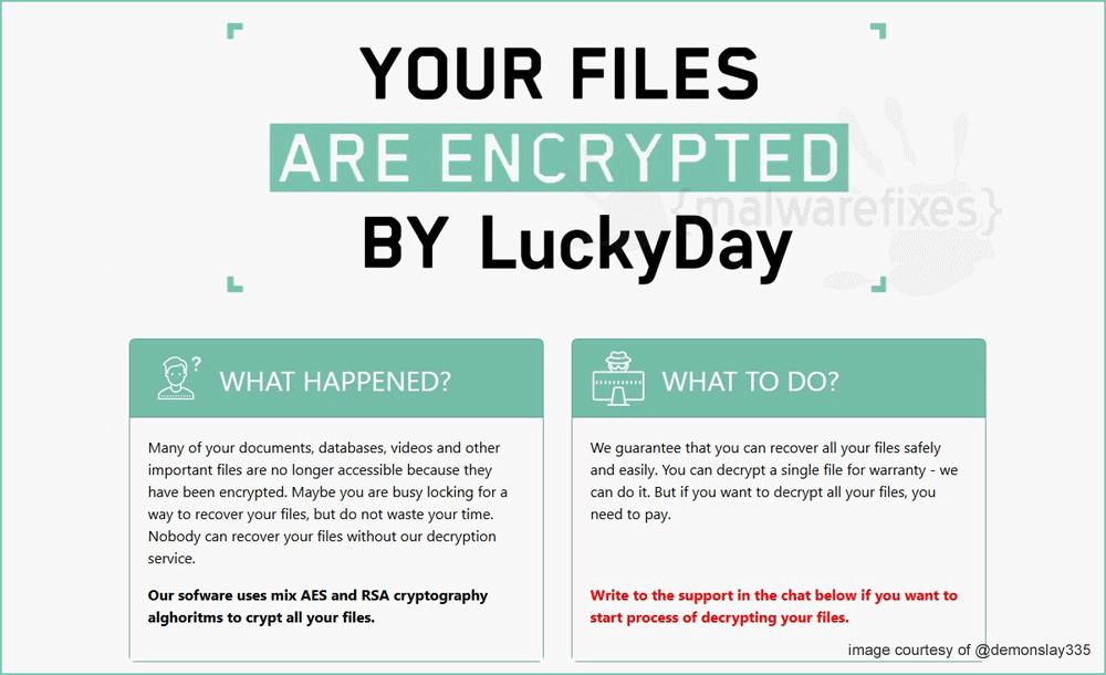 Screenshot of LuckyDay Ransomware website