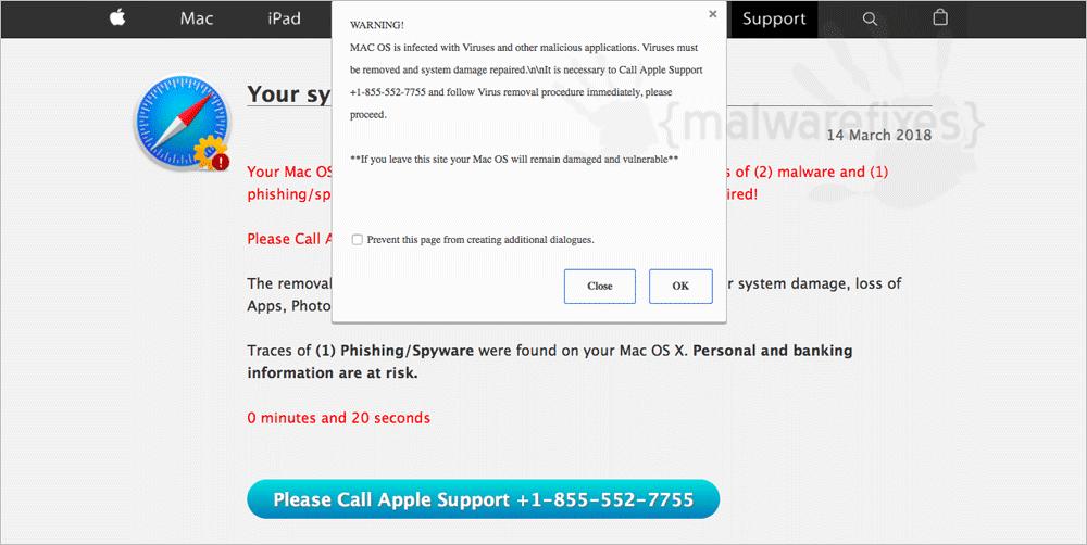 Screenshot of Fake Call Apple Support