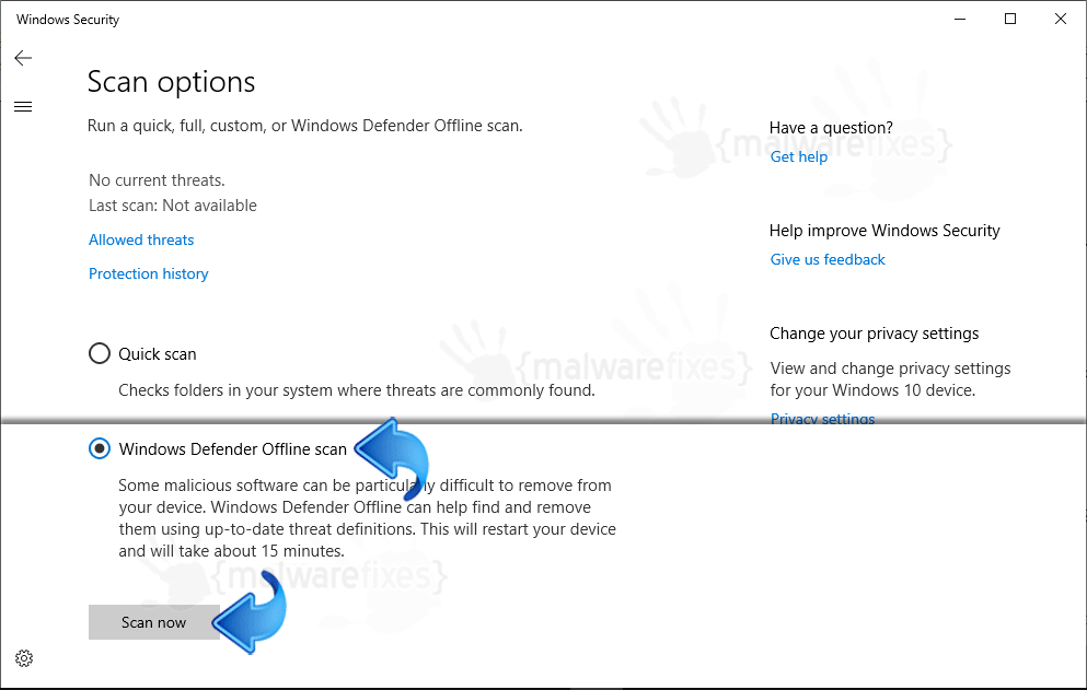 Screenshot of Windows Defender Offline Scan