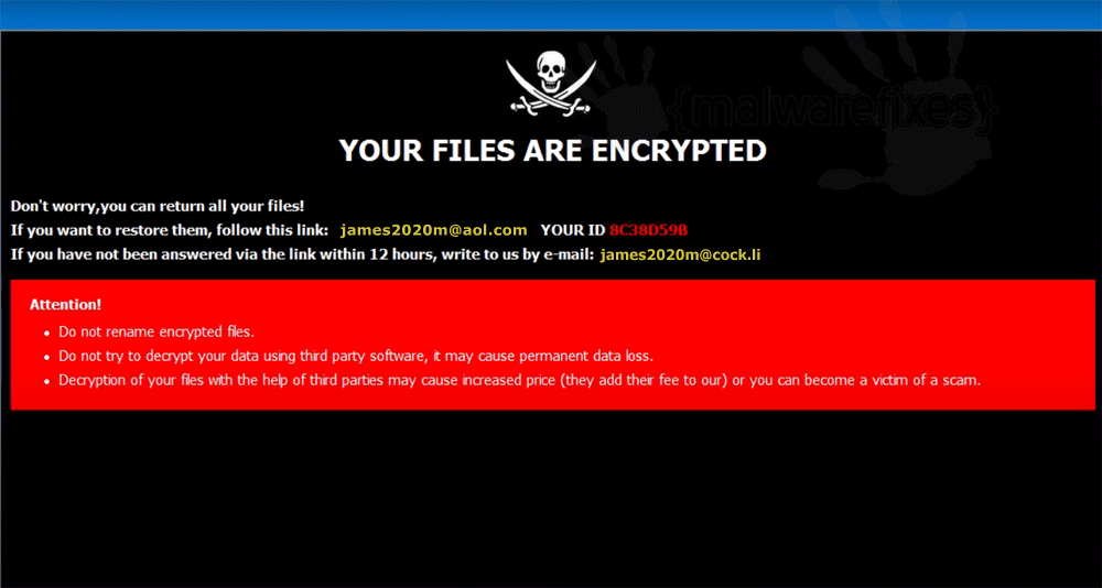 Sceenshot of MUST ransomware note
