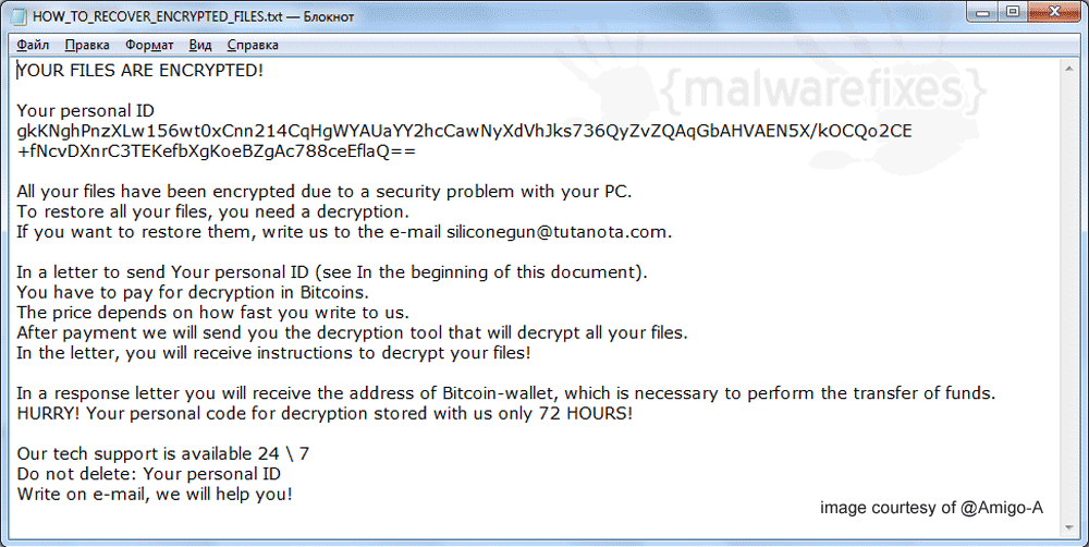 Screenshot image of Siliconegun Ransomware