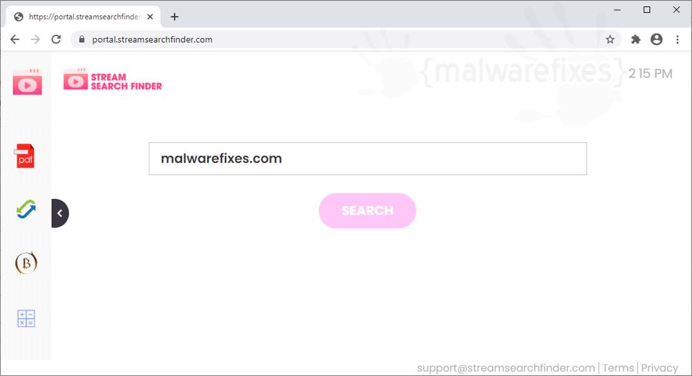 Screenshot of StreamSearchFinder website