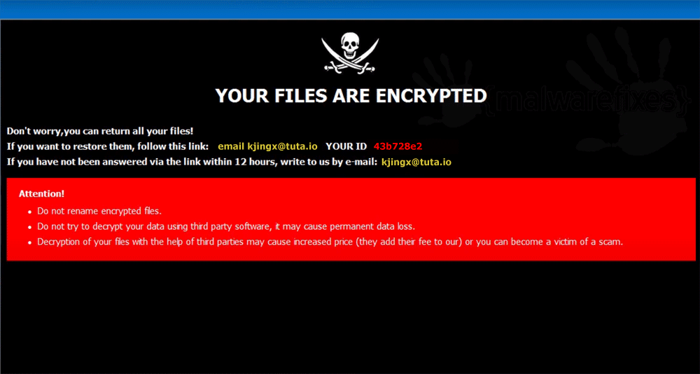 Screenshot of Suka ransom note