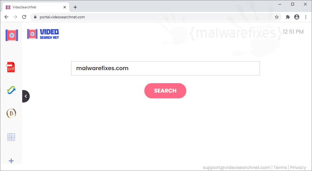 Screenshot of VideoSearchNet website