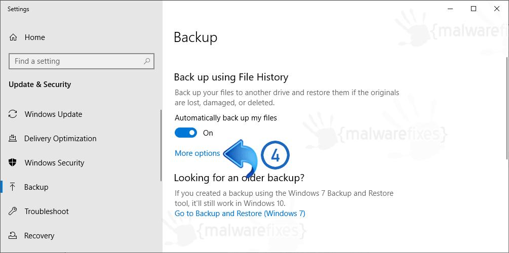 Image of other backup options on Windows