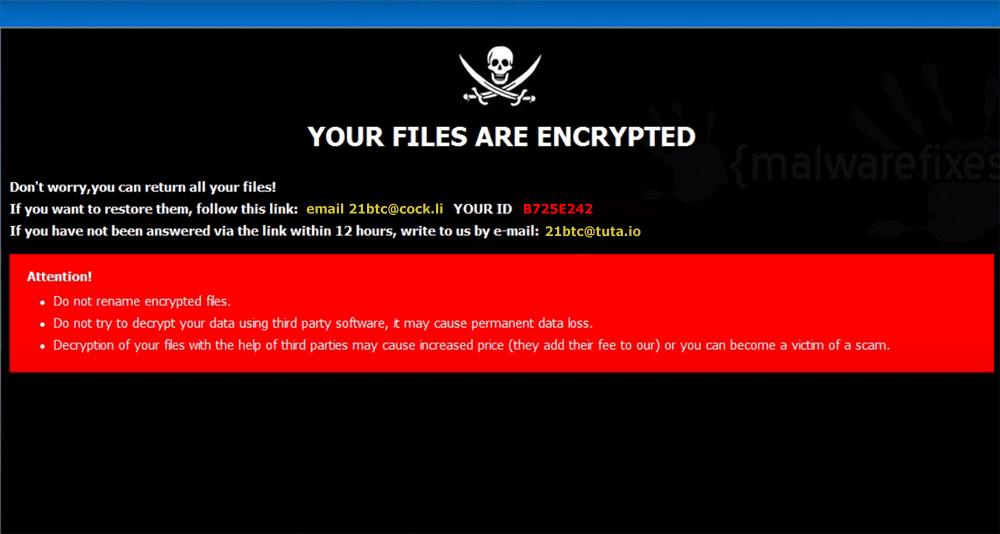 Screenshot of 21btc ransom note