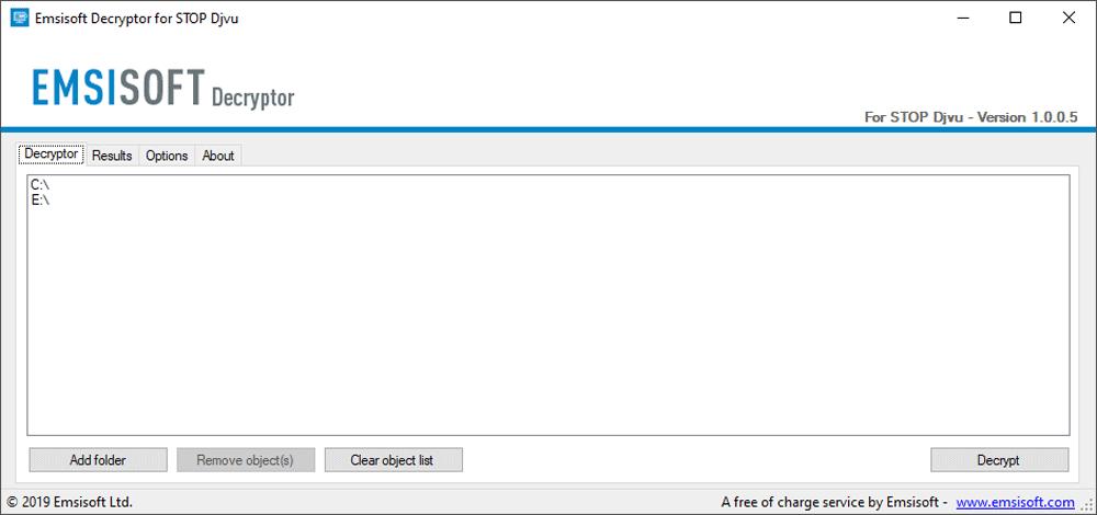 Emsisoft Decryptor for STOP Djvu Tool
