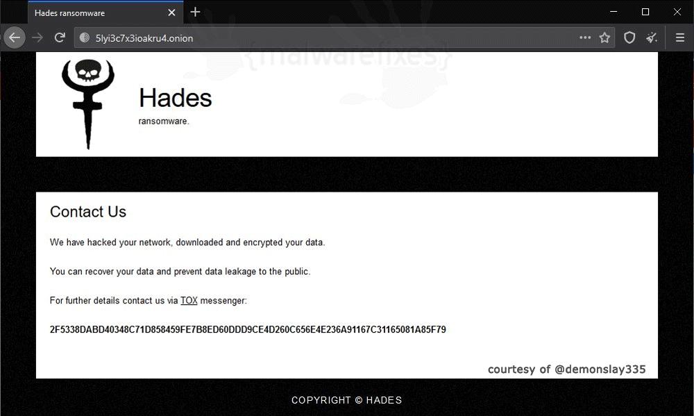 Screenshot of Hades ransomware information