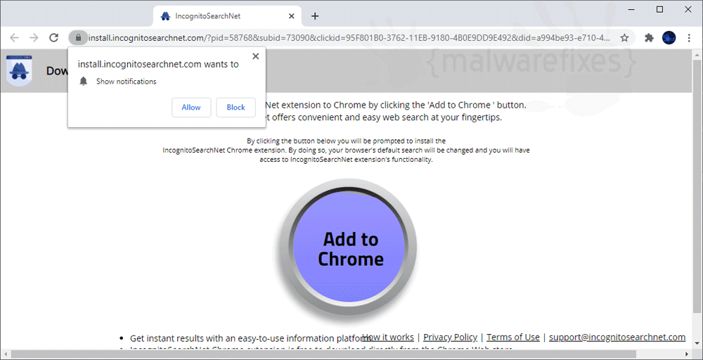 Screenshot of IncognitoSearchNet pop-up