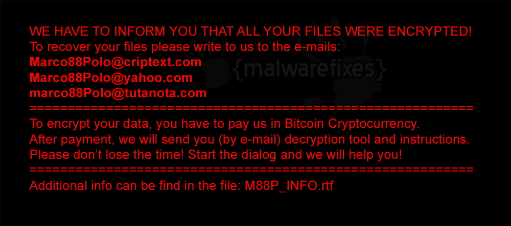 Screenshot of M88P ransom note