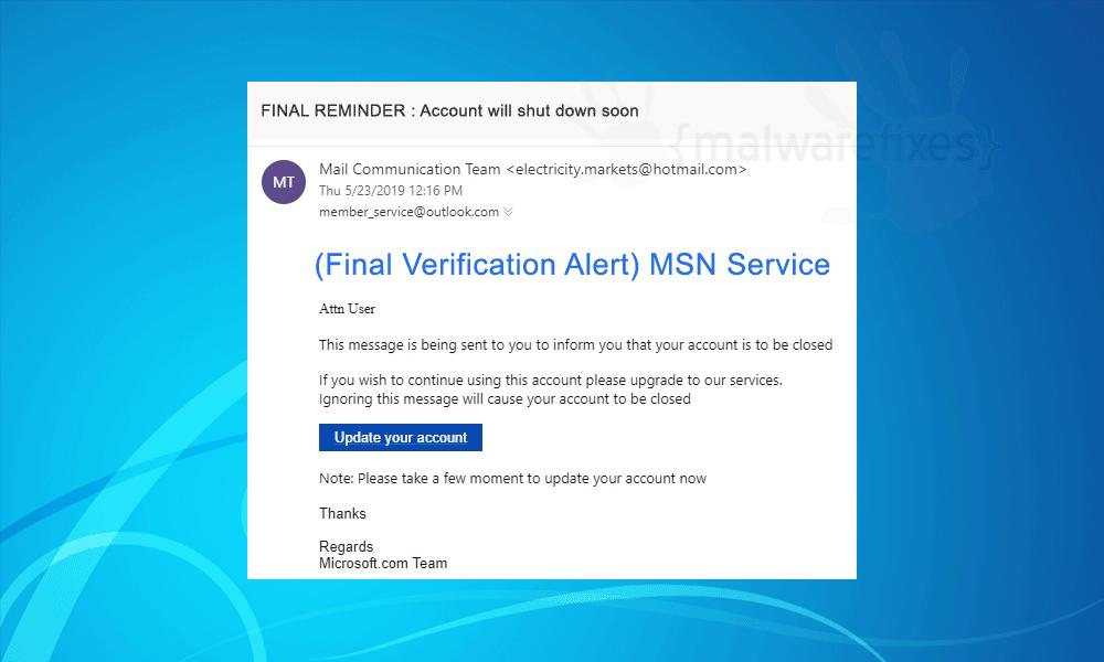 Screenshot of fake FINAL REMINDER email