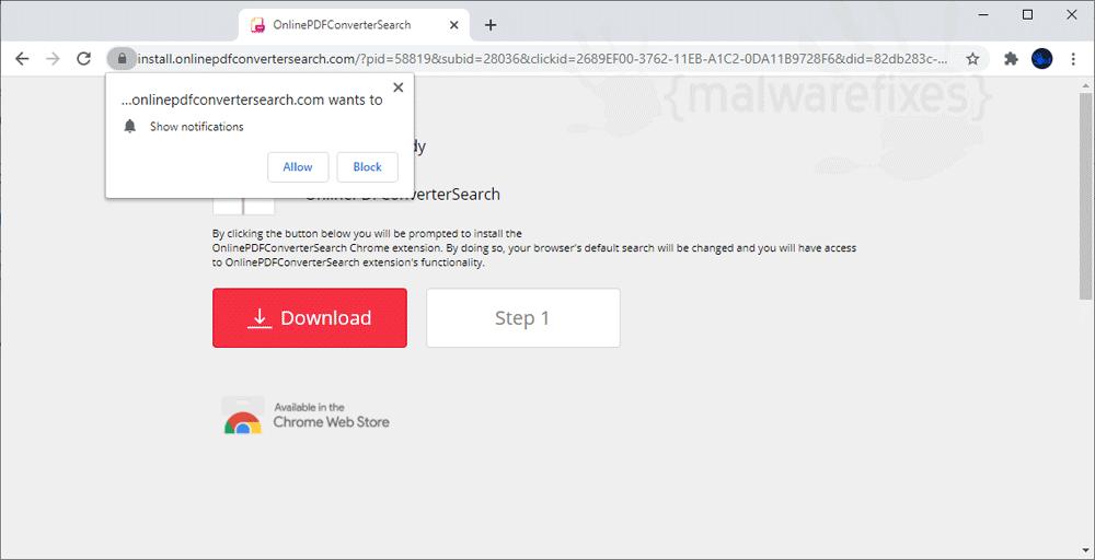 Screenshot of Onlinepdfconvertersearch.com pop-up