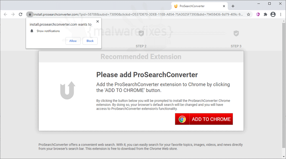 Screenshot image of Prosearchconverter.com website