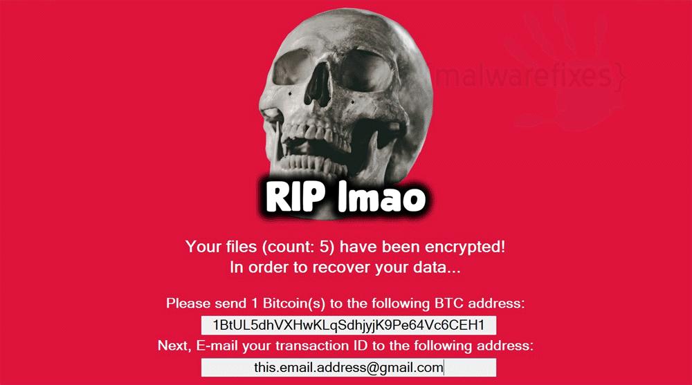 Screenshot of RIP Imao message